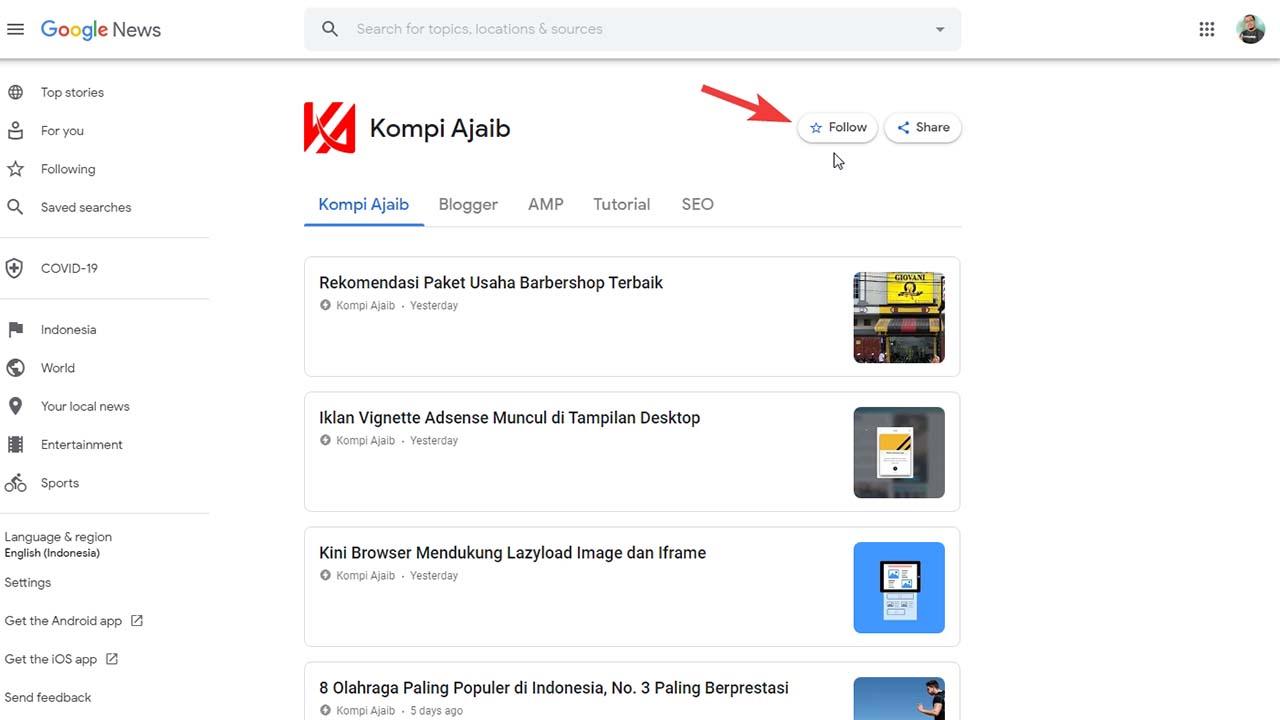 Membaca Artikel Blog Dengan Aplikasi Google News