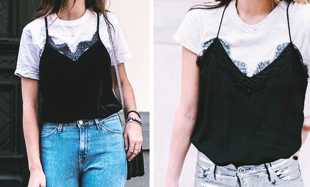 White T-shirt + Cute tank top