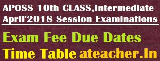 APOSS (AP Open Schools) SSC(10th Class) & Inter(Intermediate) April 2018 Exams Fee Due Dates