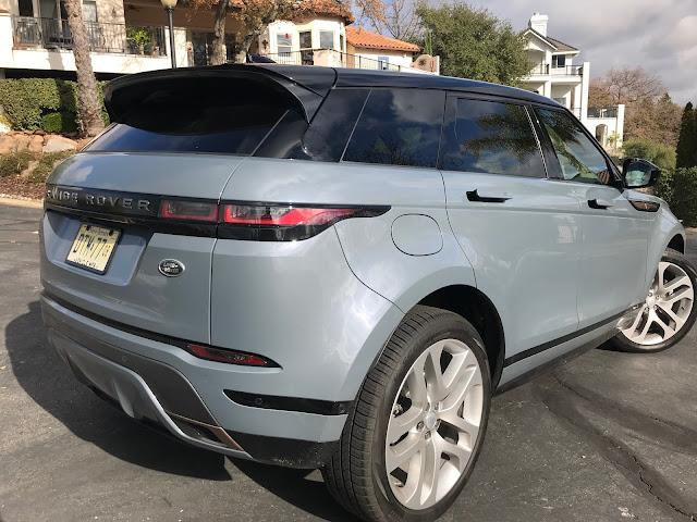 Rear 3/4 view of 2020 Range Rover Evoque