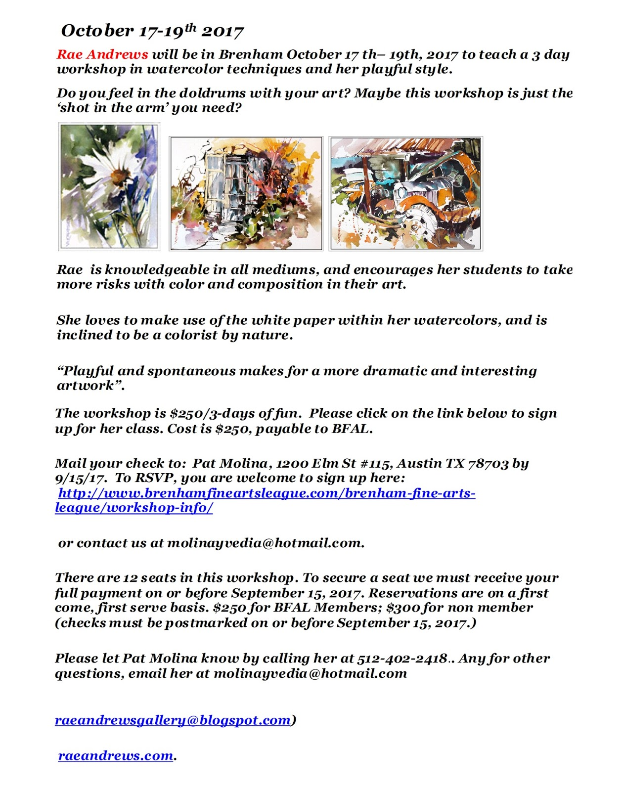 Watercolor artists in texas - Come Pasint With Rae Andrews In Brenham Texas