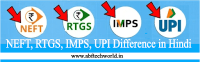 NEFT, RTGS, IMPS, UPI Difference in Hindi