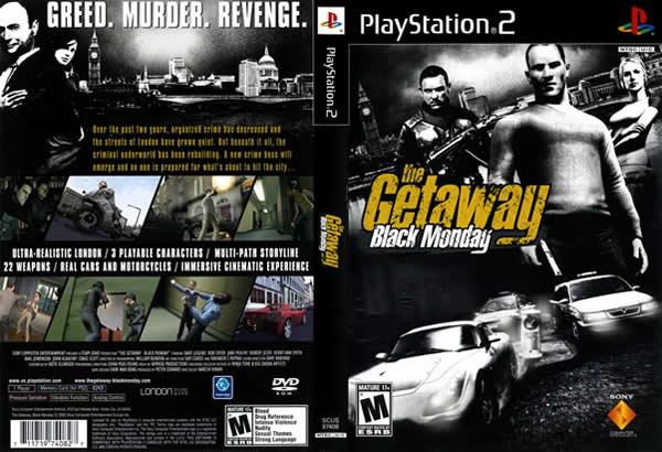Descargar The Getaway - Black Monday para PlayStation 2 en formato ISO región NTSC y PAL en Español Multilenguaje Enlace directo sin torrent. Es el segundo videojuego de disparos en tercera persona de la serie The Getaway sacado al mercado el 17 de noviembre de 2004. Al igual que su predecesor, los personajes deberán realizar una serie de misiones a lo largo de Londres siguiendo la trama de la historia.