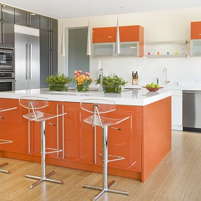 Orange kitchens designs 2014 Kitchen cabinets colors 2014