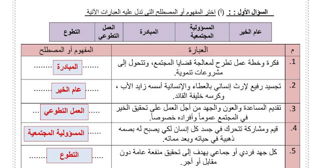 ورقة تقييم درس عام الخير دراسات اجتماعية