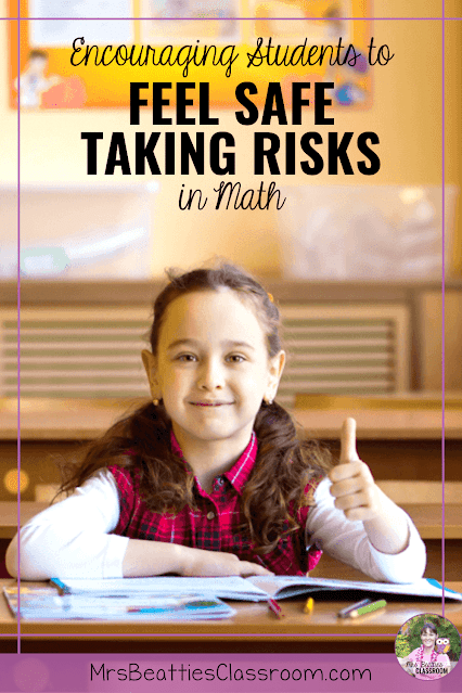 """Photo of girl in classroom with text, """"Encouraging Students to Feel Safe Taking Risks in Math: How to Help."""""""
