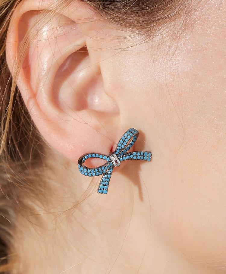 造型藍蝴蝶結水鑽鋯石耳環