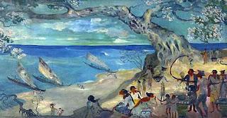 Pasar dipinggir laut karya lukisan hendra gunawan