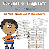 Complete or Fragment Sentences Task Cards and Worksheets