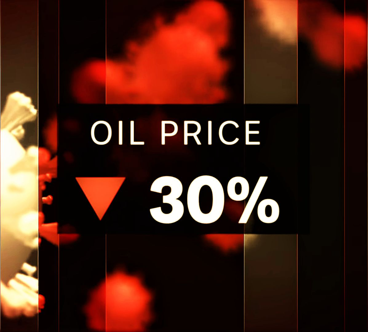 Economic impact of the coronavirus and the oil price war. Image showing 30 percent drop in the price of oil.