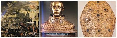 Busto reliquiario prezioso con tiara in cui sono conservate le sue reliquie
