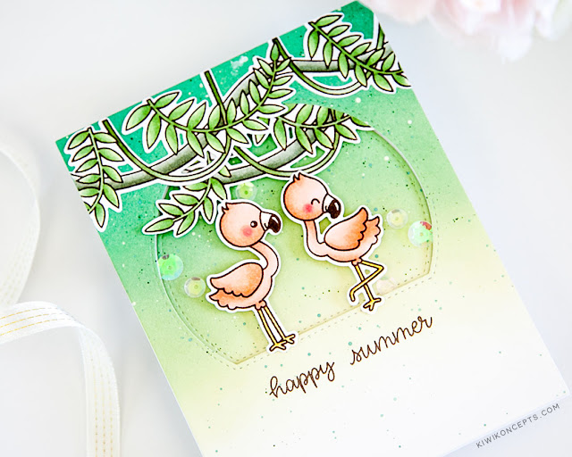 Sunny Studio Stamps: Tropical Scenes Stitched Semi-Circle Dies Fabulous Flamingos Summer Themed Card by Keeway Tsao