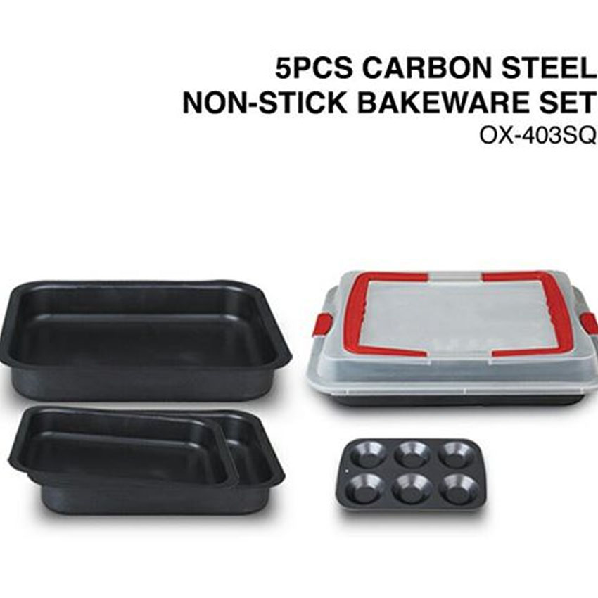 OX-403SQ 5Pcs Oxone Carbon Steel Non-Stick Bakeware Set title=
