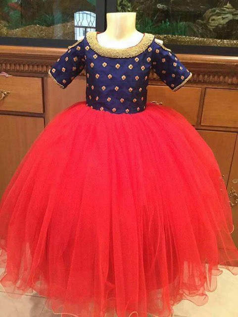 Red and Blue Trendy Kids Frock