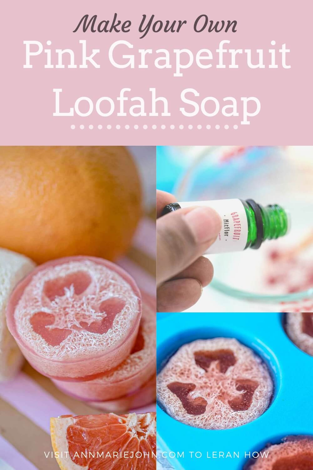 DIY Pink Grapefruit Loofah Soap
