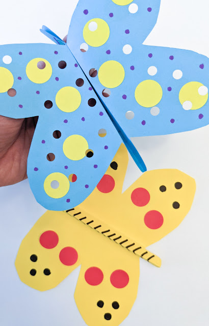 How to Fold and decorate Fluttering Paper butterflies for an easy preschool craft