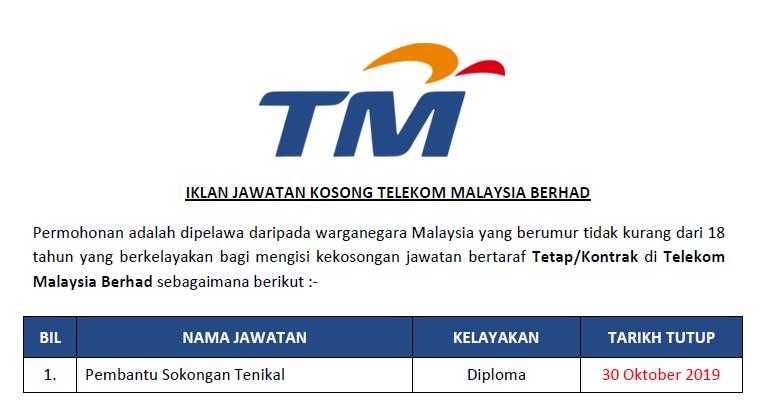 Jawatan Kosong Di Telekom Malaysia Berhad Kelayakan Diploma