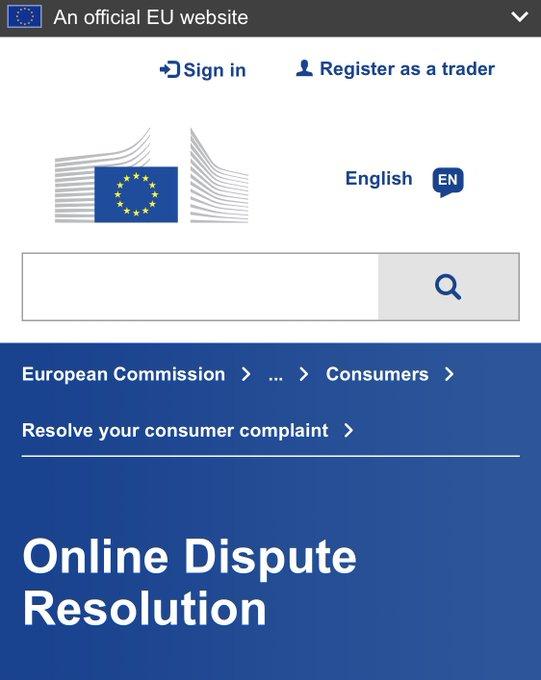 موقع الإتحاد الأوربي لحل المشاكل بما يتعلق بالشراء من المواقع الأوربية