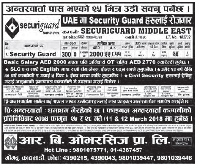 Jobs in Dubai for Nepali, Salary Rs 55,811