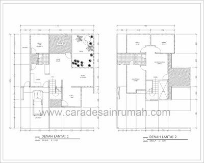Denah rumah bertingkat minimalis type 140