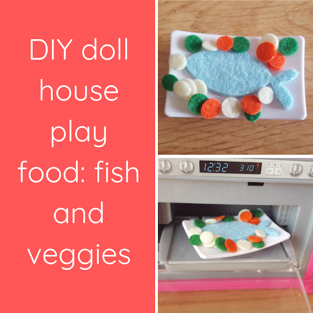 DIY doll house play food: fish and veggies