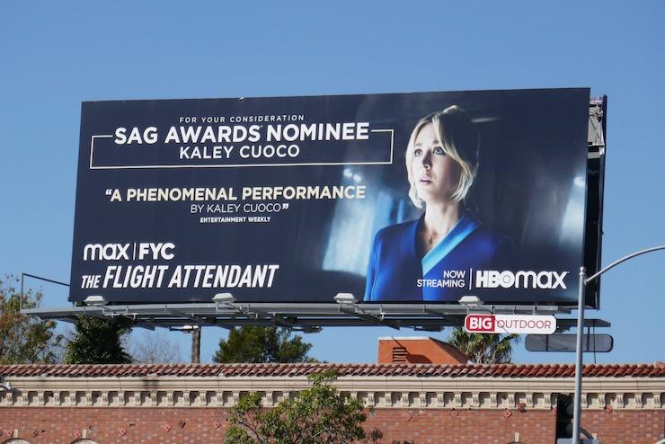 Kaley Cuoco Flight Attendant SAG Award nominee billboard