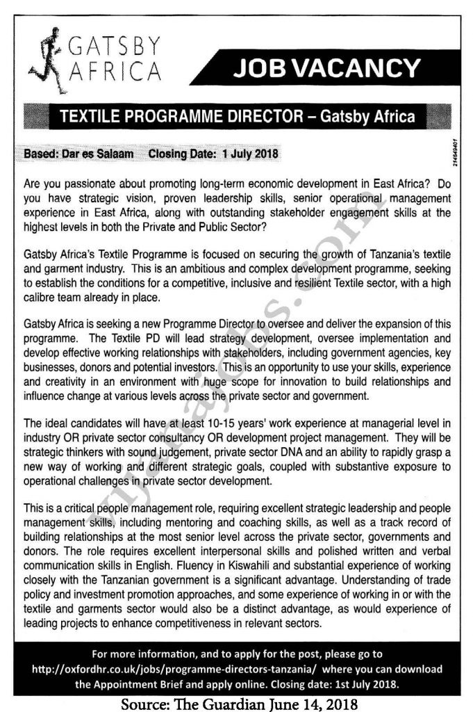 Job Opportunities at Gatsby Africa, Textile Programme