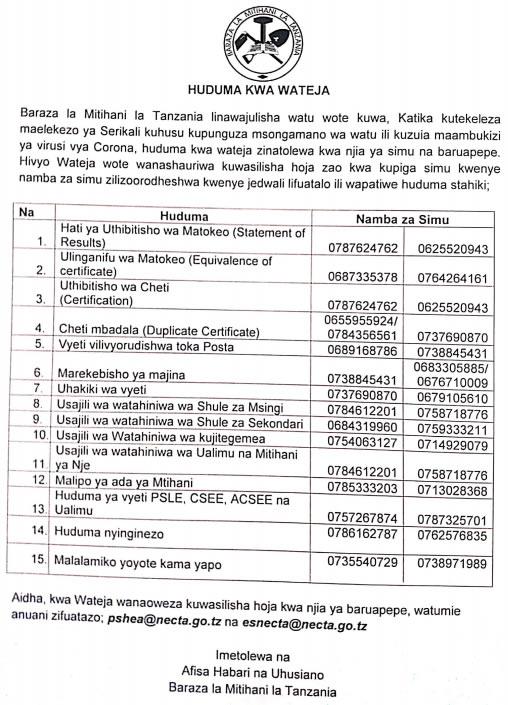 IMPORTANT NEWS AIMED TO SIMPLIFY SERVICES FROM NATIONAL EXAMINATION COUNCIL TANZANIA (NECTA)