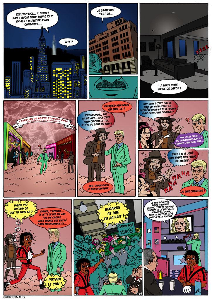 """L'ultime épisode de la série """"LA VIE DES STARS MORTES"""". En hommage à David Bowie et Prince, disparus cette année.     Si je parle de l'ultime épisode, cela veut dire que ce projet est bel et bien fini. En fait, la série était arrêtée depuis 2012, avec l'épisode """"ÂMES PERDUES"""" avec la mort de Amy Winehouse. Mais on avait continué avec une hors série avec """"LA VENGEANCE DE LA BRUTE ET DU TRUAND"""", qui est une hors série, pour rendre hommage à Elie Wallach.     Puis, en ayant appris la mort de David Bowie et par la suite, Prince, on avait décidé, exceptionnellement, de refaire un épisode hommage."""