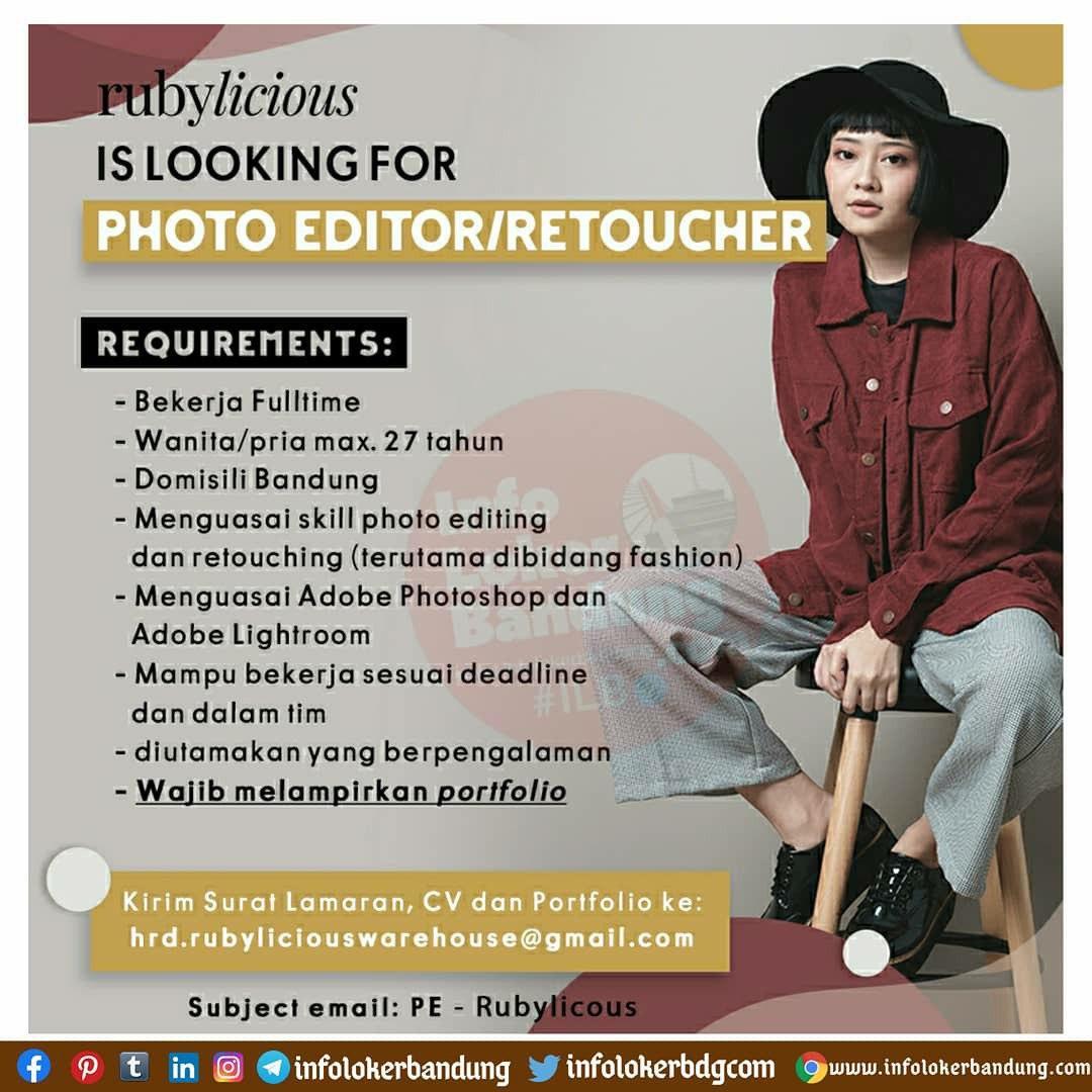 Lowongan Kerja Photoeditor / Retoucher Rubylicious Bandung September 2020