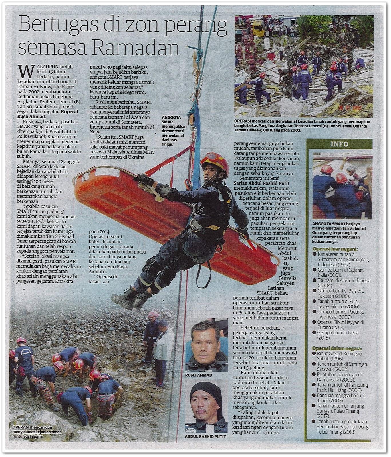 SMART 'duta' negara di lokasi bencana - Keratan akhbar Utusan Malaysia 13 Jun 2019