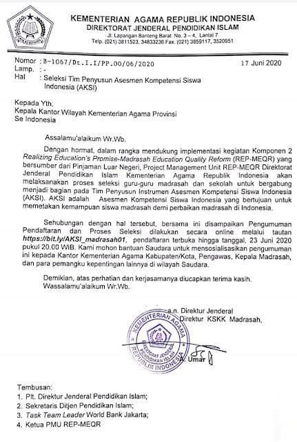 Surat Edaran Seleksi Tim Penyusun Asesmen Kompetensi Siswa Indonesia (AKSI)