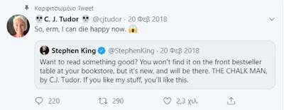 "Stephen King tweets about ""The Chalk Man"""