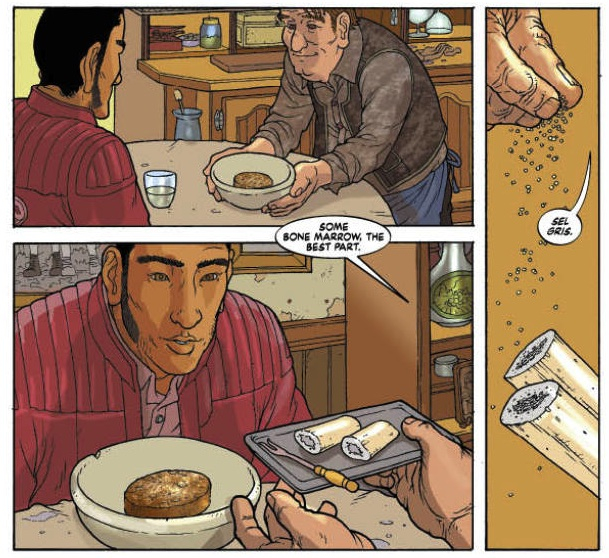 Get Jiro! Written by: Anthony Bourdain and Joel Rose  Pencilled and Inked by: Langdon Foss Colored by: José Villarrubia and Dave Stewart Lettered by: Todd Klein