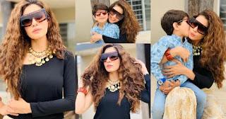 Stunning Clicks of Actress Sadia Faisal with Her Son