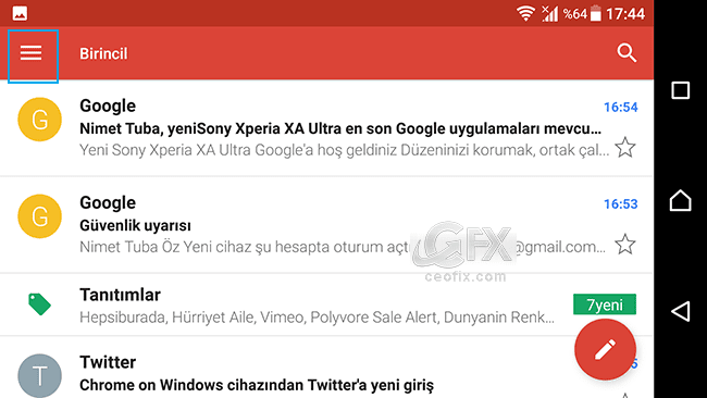 gmail hamburger menü