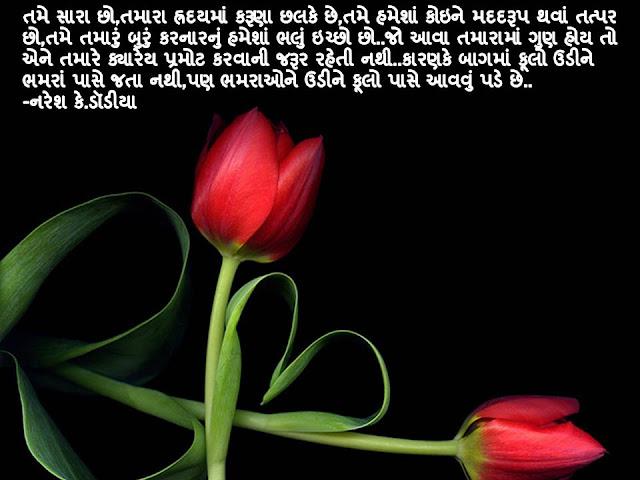 Tame Sara Cho,Tamara Hraday Ma Karuna Chalke Che Quote By Naresh K. Dodia