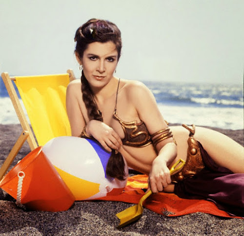 Carrie Fisher in Gold Bikini