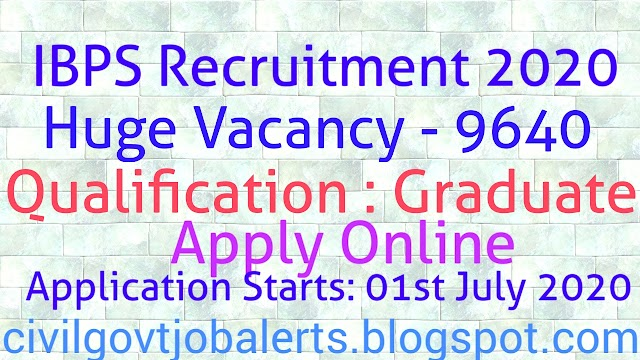 IBPS CRP RRB RECRUITMENT NOTIFICATION 2020, Apply Online 9640 Vacancies