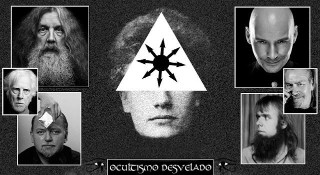 Ilustração com fotografias de magos do caos, como Austin Osman Spare, com a estrela do caos, ou caosfera sobre o rosto, Grant Morrisson, Alan Moore, Robert Anton Wilson, Peter Carroll, Timothy Leary, dentre outros.