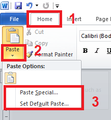 Paste Specia ldan Set Default Paste