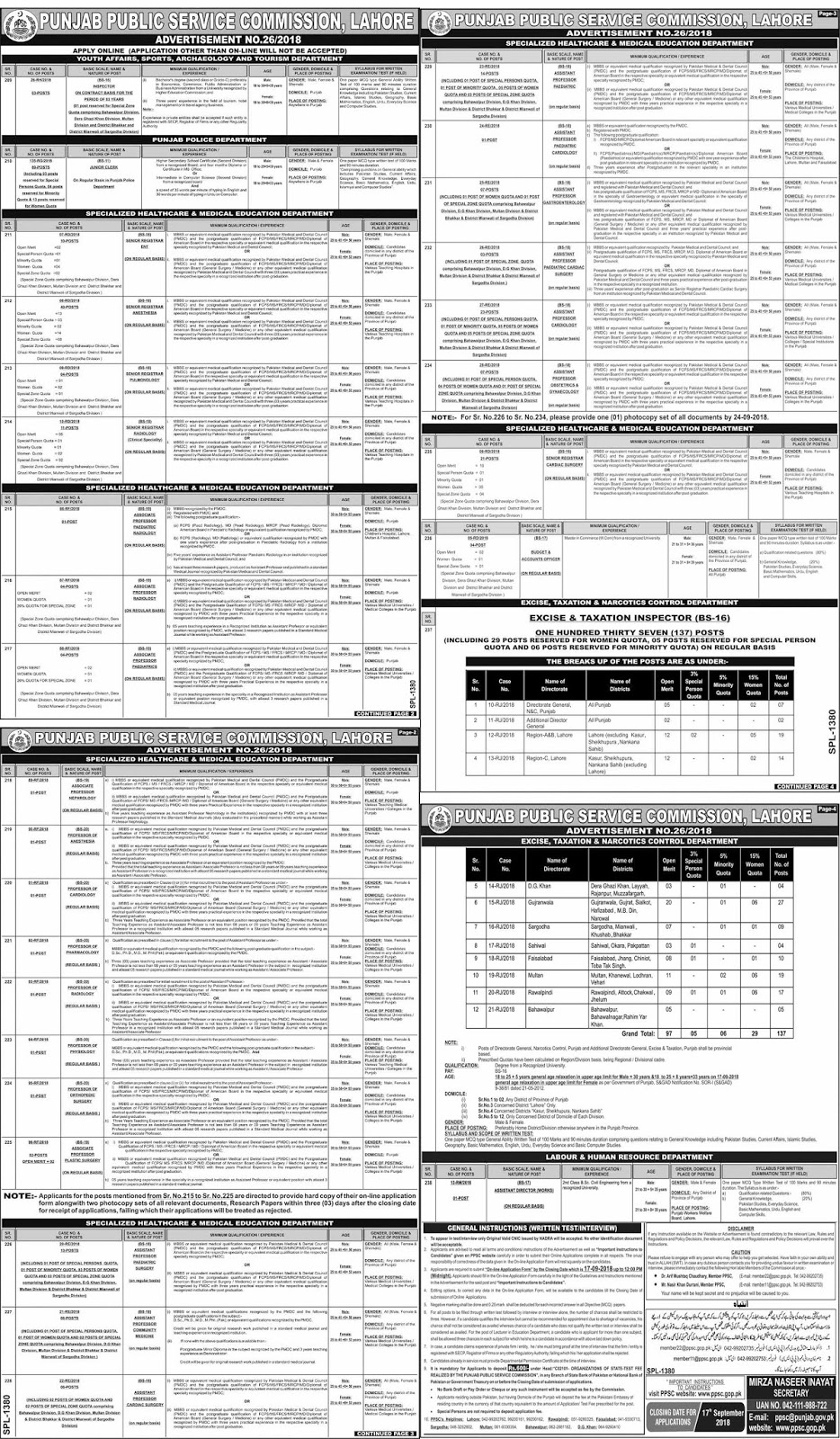PPSC Jobs 2018 | Advertisement No.2 [ September ]