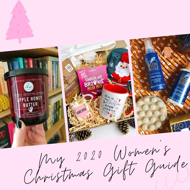 collage with pink background including apple honey butter candle, Treatbox christmas movie gift set and Feather & Down massage gift set on orange background