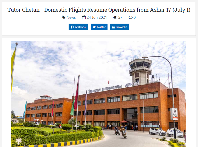 Domestic Flights in Nepal Resume Operations from Ashar 17, 2078 (July 1, 2021)