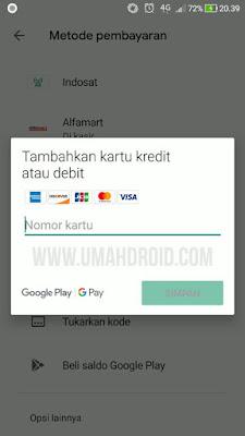 Setting Pembayaran Google Play Dengan Kartu ATM