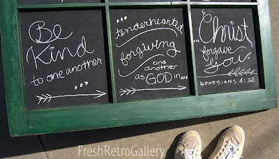 chalkboard window panels with Bible verse Ephesians 4:32
