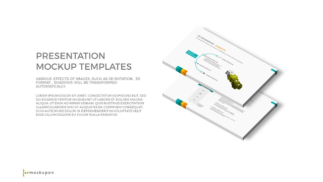 Free PowerPoint Template with 3D 2 Layered  Screen Mockups to the right