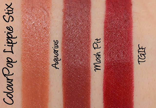 ColourPop Lippie Stix - Aquarius, Mosh Pit and TGIF Swatches & Review