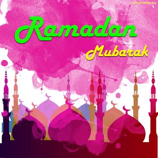 Ramadan mubarak in english masjid colour splash