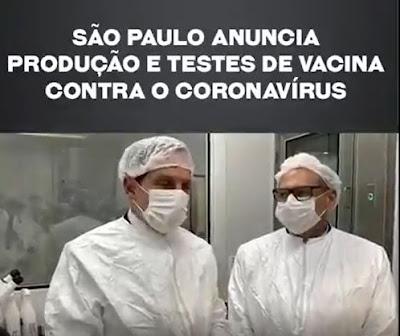 Governador Dória de São Paulo anuncia neste (11/06) vacina contra o Coronavirus